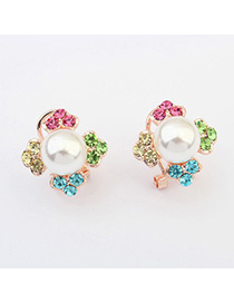 Slim multicolor pearl decorated clover shape design alloy Stud Earrings