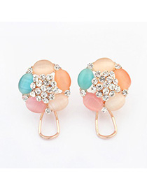 High Quali multicolor diamond decorated flower design alloy Stud Earrings