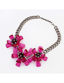 Preppy purplish red flower decorated simple design resin Fashion Necklaces
