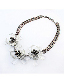 Western white flower decorated simple design resin Fashion Necklaces
