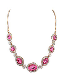 Crinkle plum red gemstone decorated simple design alloy Bib Necklaces