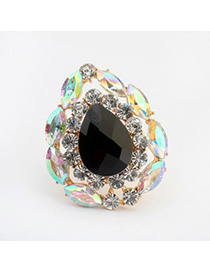Homecoming black gemstone decorated waterdrop shape design alloy Korean Rings