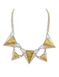 Antique yellow gemstone decorated triangle shape design alloy Korean Necklaces