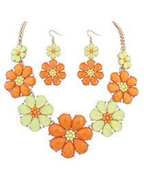 Avalon yellow & orange flower decorated simple design alloy Jewelry Sets