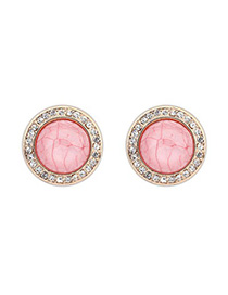 Puritan Pink Diamond Decorated Round Shape Design Alloy Stud Earrings