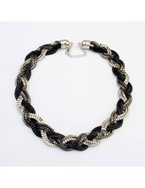 Luxury Silver Color & Black hollow out weave simple design Alloy Chains