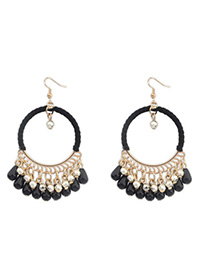 Affordable Black Tassel Decorated Hollow Circle Shape Design Alloy Korean Earrings