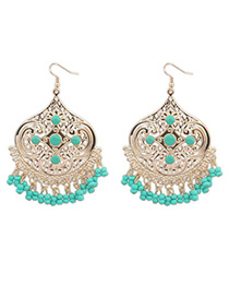 Parker Green Tassel Decorated Geometrical Shape Design Alloy Korean Earrings