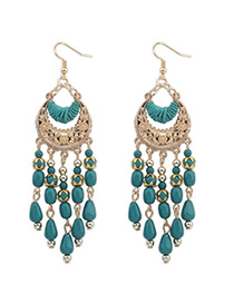 Headrest Green Tassel Decorated Crescent Shape Design Alloy Korean Earrings
