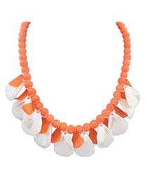 Wrap Orange Beads Decorated Leaf Shape Design Alloy Korean Necklaces