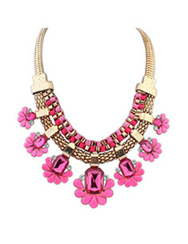 Native Purple Red Gemstone Decorated Flower Design Alloy Bib Necklaces