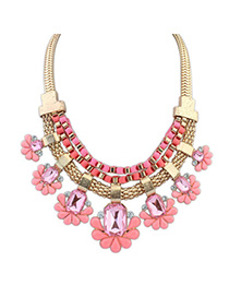 Security Pink Gemstone Decorated Flower Design Alloy Fashion Necklaces