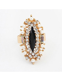 Hiphop Black Diamond Decorated Oval Shape Design Alloy Korean Rings