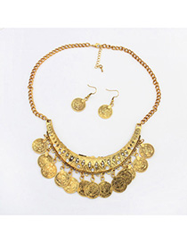 Genuine Antique Gold Diamond Decorated Crescent Shape Design Alloy Jewelry Sets