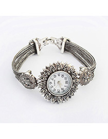 Mobile Silver Color Diamond Decorated Flower Design Alloy Ladies Watches