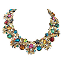 Locket Multicolor Diamond Decorated Flower Design Alloy Bib Necklaces