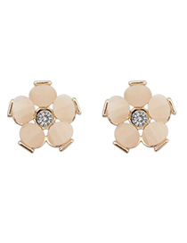 Little Apricot Gemstone Decorated Flower Design Alloy Stud Earrings