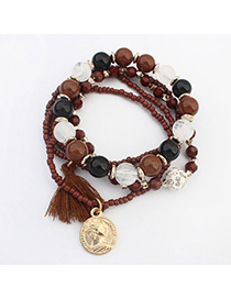Hurley Coffee Beads Decorated Multilayer Design Alloy Korean Fashion Bracelet