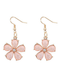 Hemming Pink Flower Decorated Simple Design Alloy Korean Earrings
