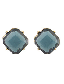 Crucifix Dark Blue Transparent Square Shape Simple Design Alloy Stud Earrings