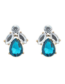 Traditiona White & Blue Diamond Decorated Waterdrop Shape Design Alloy Stud Earrings