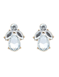 2012 White Diamond Decorated Waterdrop Shape Design Alloy Stud Earrings