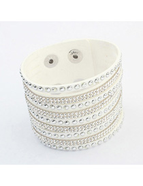 Beauteous White Diamond Decorated Multilayer Design Alloy Korean Fashion Bracelet