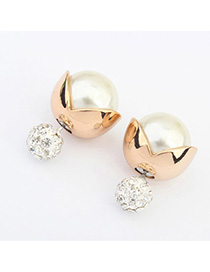 Local White Diamond Decorated Simple Design Alloy Stud Earrings
