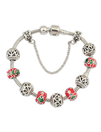Tummy Red Christmas Hollow Out Simple Design Alloy Korean Fashion Bracelet