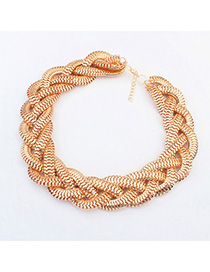 Mysterious Gold Color Matel Decorated Weave Design Alloy Korean Necklaces