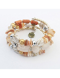 Vibrating White Gemstone Decorated Multilayer Design Alloy Korean Fashion Bracelet