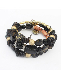 Hiking Black Gemstone Decorated Multilayer Design Alloy Korean Fashion Bracelet
