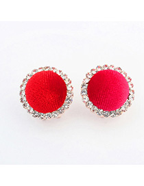 Writing Red Diamond Decorared Round Shape Design Alloy Stud Earrings