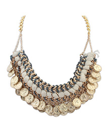 Best Ancient Gold Coins Shape Decorated Weave Design Alloy Bib Necklaces