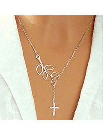 Eco Silver Color Cross Leaf Shape Decorated Simple Design
