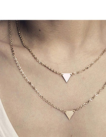 Spiritual Gold Color Triangle Shape Decorated Simple Design Alloy Chains
