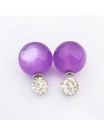 Greek Purple Candy Color Round Shape Design Alloy Stud Earrings