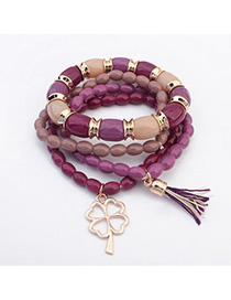 Womens Purplish Red Clover Shape Decorated Multilayer Design Alloy Korean Fashion Bracelet