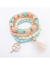 Huge Light Blue & Pink Clover Shape Decorated Multilayer Design Alloy Korean Fashion Bracelet