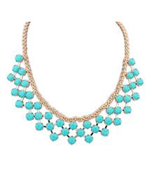Skinny Blue Gemstone Decorated Geometrical Shape Design Alloy Korean Necklaces