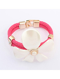 Promo Plum Red Pearl Decorated Flower Shape Design Leather Korean Fashion Bracelet