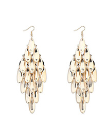 Rasta Gold Color Leaf Shape Decorated Tassel Design Alloy Korean Earrings