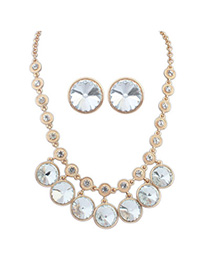Girls White Diamond Decorated Round Shape Design Alloy Jewelry Sets