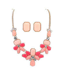 Nice Pink Gemstone Decorated Waterdrop Shape Design Alloy Jewelry Sets