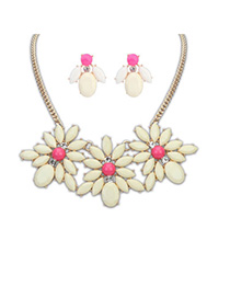 Kinetic Beige Gemstone Decorated Flower Design Alloy Jewelry Sets