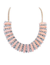 Airmail Pink Diamond Decorated Simple Design Alloy Fashion Necklaces