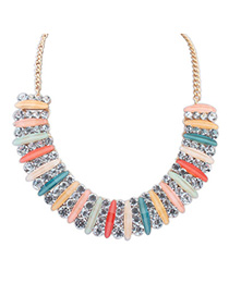 Greek Multicolor Diamond Decorated Simple Design Alloy Fashion Necklaces