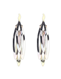 Apparel Multicolor Oval Shape Decorated Hollow Out Design Alloy Korean Earrings