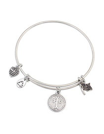 Corduroy Silver Color Round Shape Decorated Simple Design Alloy Fashion Bangles
