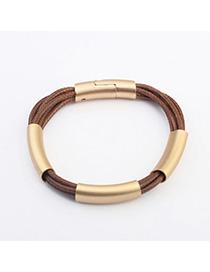 Layered Coffee Metal Decorated Multilayer Design Alloy Korean Fashion Bracelet